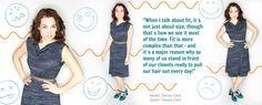 Tamara is wearing the Drape Dress by Toronto designer Rita DiCesare.    Got a closet full of of nothing to wear? Get Tamara Glick's Closet Detox FREE on our blog.