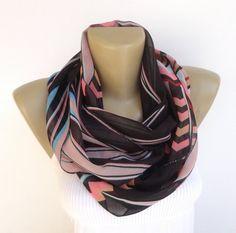 chevron infinity scarf ,chiffon women scarves ,spring summer scarf on Etsy, $18.90