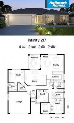 If you have a shallow block of land, the Infinity 217 might be the answer. Large living areas flow off the kitchen and look out over the alfresco area. The private master suite is well away from the remaining three bedrooms, providing a peaceful retreat. Free House Plans, House Layout Plans, Family House Plans, House Layouts, Modern Bungalow House, Bungalow House Plans, Single Storey House Plans, House Plans South Africa, House Construction Plan