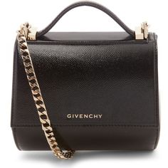 Givenchy Black Patent Leather Mini Chain Strap Pandora Box Bag ($1,825) ❤ liked on Polyvore featuring bags, handbags, shoulder bags, crossbody purse, chain crossbody, givenchy handbags, shoulder strap bags and chain strap purse