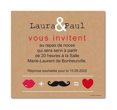 carte invitation mariage addition moustache et kraft (w-740)