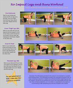 No Impact Lower Body Workout. This is a great beginner workout! Tone those buns and thighs without the worry of too much stress on your joints. Enjoy :) #noimpact #workout #exercise