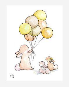Children Art Print. Balloons for Bunnies GOLDEN. by LoxlyHollow