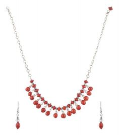 Women's Brass Necklace and Earrings Set in Red