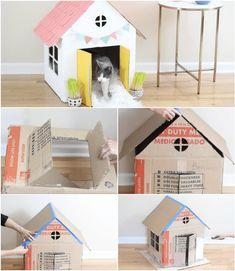 Cardboard Crafts Kids, Cardboard Cat House, Pet Bunny Rabbits, Bunny Cages, Cat House Diy, Diy Cat Toys, Cat Room, Pet Home, Diy Stuffed Animals