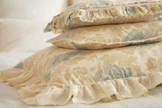 "Sofia Standard Sham by Pom Pom at Home. $90.00. Usually ships in 2-4 weeks20"" x 27""Pom Pom at Home's Sofia collection of shams feature a delicate floral print. Choose to have this sham finished with a 3"" cream ruffle or 2 1/2 inch frayed edge with velvet trim.  All linen items are machine washable and can be tumble dried. They can be bleached if needed but it is suggested to use mild soap. Pom Pom at Home suggests washing linen items before use to obtain an even softer feel. Min..."