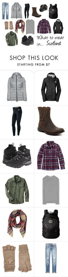 What to wear in... Scotland by sabra-wilson on Polyvore featuring T By Alexander Wang, Patagonia, Colmar, The North Face, rag & bone, NIKE, Merrell, Osprey, Armitage Avenue and Accessorize