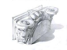Michal Suffczynski pencil study,ionic order,40/30 cm