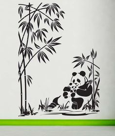 Panda Mom, Dad, Baby, Bamboo - Decal, Sticker, Vinyl, Wall, Home, Zoo, Children's Bedroom, Kid's Decor