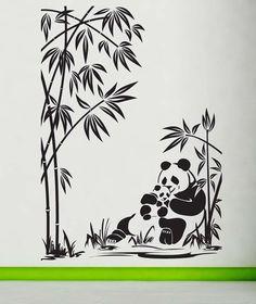 Panda Mom, Dad, Baby, Bamboo - Decal, Sticker, Vinyl, Wall, Home, Zoo, Children's Bedroom, Kid's Decor