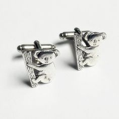 Men's Silver Koala Bear Cufflinks, Zoo Asia Animal Cuff Links- Wedding Prom Guys #Handmade