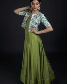 Anarkalis from Nallaz spring summer collection. Beautiful bottle green color floor length anarkali dress with ice blue color over coat. Over coat with floret lata design hand embroidery gold thread work. Long Gown Dress, The Dress, Kurta Designs Women, Blouse Designs, Indian Designer Outfits, Designer Dresses, Sari, Party Wear Dresses, Summer Dresses