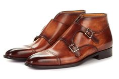 Paul Evans Handmade Italian Leather Men's Dress Shoes - Double Monk Strap Boot - Cacao