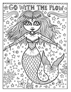 Instant Download Coloring Page Mermaid Adult Book Fantasy Art Inspiratinal