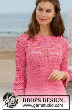 186-2 Primrose Dress - free crochet top-down round yoke pattern with charts by DROPS design. Size: S - XXXL. DK weight. #freecrochetpattern
