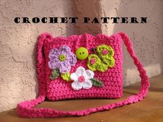 Girls Bag / Purse with Butterfly and Flowers, Crochet Pattern