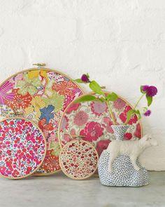 DIY Vintage Fabric Embroidery Hoop Decor