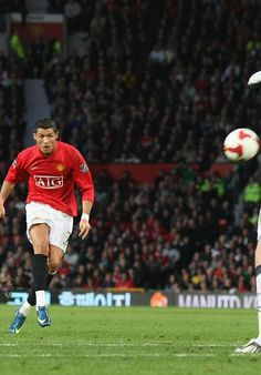 Portuguese forward Cristiano Ronaldo unleashes a powerful free-kick in @manutd's match with West Brom at Old Trafford in 2008.