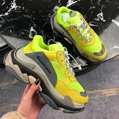 For sale Balenciaga Triple S Trainers Jaune Fluo sneakers Cute Nike Shoes, New Nike Shoes, Cute Nikes, Nike Shoes Outlet, Cheap Shoes, Bape Sneakers, Sneakers Fashion, Shoes Sneakers, Fashion Outfits