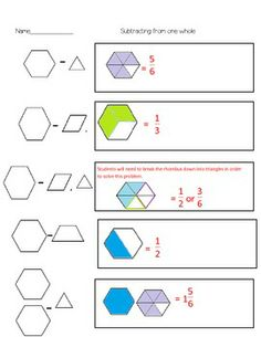 math worksheet : pattern block flexible unit fraction cooperative activity  : Pattern Block Fractions Worksheet