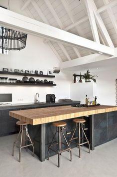 Moderne modulopbygget køkkendesign til at se absolut - Joanna Italian Kitchen Decor, Kitchen Interior, New Kitchen, Kitchen Dining, Kitchen Ideas, Kitchen Walls, Concrete Kitchen Floor, Kitchen Wood, Kitchen Sink