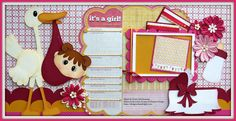A two page newborn girl layout using paper piecing patterns from Little Scraps of Heaven Designs