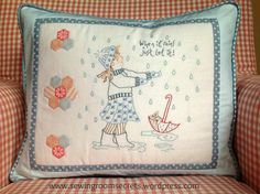 Sewing Room Secrets: Cushion made from Harriet & her Teddy embroidery pattern