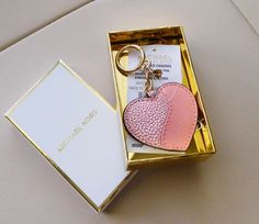 New Michael Kors Heartbreaker Embossed Leather Key Charm Pale Pink in Gift Box #MichaelKors