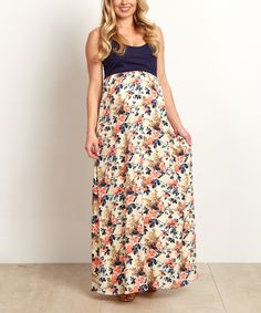 Take a look at this PinkBlush Navy Blue Color Block Floral Maternity Maxi Dress today!