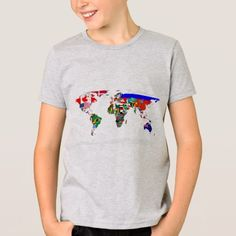 flagged world T-Shirt - tap, personalize, buy right now! Types Of T Shirts, Funny Tshirts, Fitness Models, Flag, Casual, Fabric, Sleeves, Mens Tops, Cotton