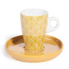Tazza da caffè e piattino color giallo in porcellana COVENTRY
