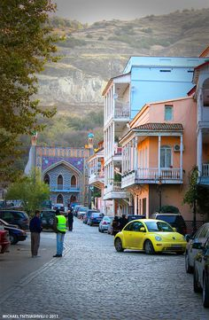 Tbilisi, Georgia. A view of Abano Street. The persian style building at the back is the Orbeliani Bath.
