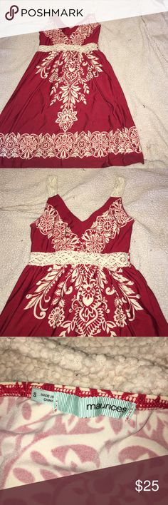 Beautiful red dress with white detail Perfect for senior pictures or concert super cute with cowboy boots and in great condition only worn once! Maurices Dresses