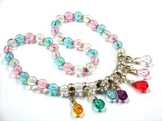 """Kids Fun Necklace =  Little Girls Colorful """"First' Jewelry = Dress Up Make Believe Jewelry Hand Cratfed by Chris of ChildWithStyle, $12.00"""