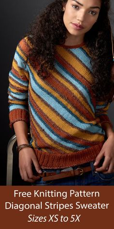 Free knitting pattern for striped pullover sweater knit flat with diagonal stripes in 6 different colors so it's great for mini skeins or stashbusting. Sizes XS to 5X. Designed by Patons. Aran weight yarn. Sweater Knitting Patterns, Free Knitting, Aran Weight Yarn, Pullover Sweaters, Knit Crochet, Stripes, Stitch, Flat, Colors