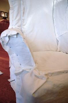 making white slipcovers. .>> Appropriate to have a Pin of pins pinning, don't you think?