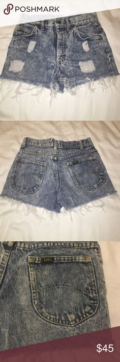 High waisted jean shorts Very cute distressed denim shorts! Fit as an XS. Lee. Bought them from urban outfitters Urban Outfitters Shorts Jean Shorts