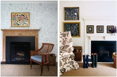 On the right - beautiful fp idea with frames/artwork repeat | Bungalow Blue Interiors - Home