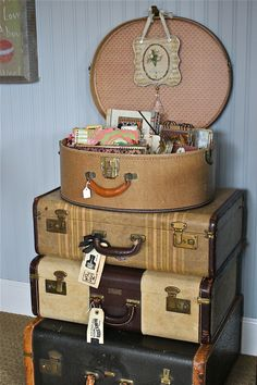 One Lucky Day: No. 2 - Good Junk. You can never have too many vintage suitcases!