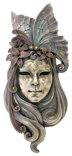 Lg Venetian Lady Butterfly Mask Wall Plaque Bronze 20""