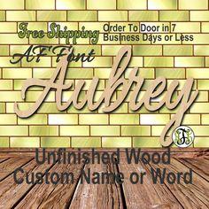 Unfinished Wood Custom Name or Word AF Font Script by AnneLayneToo