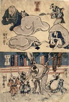 Top Title: Samugari tanuki  Description: Raccoon dogs sheltering from the cold     Bottom Title: Hatsuuma no tanuki  Description: Raccoon dogs as retailers celebrating the first sale of the new year by beating on a large drum.    There is a whole series with these racoon dogs using their giant scrotums to do stuff. You just can't make this stuff up. Oh wait, maybe you can.