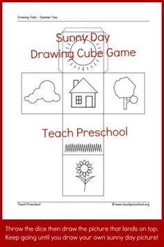 Sunny day drawing cube game | Free Printable | PreschoolSpot: Education | Teaching | Pre-K | Preschool | Early Childhood Also as a story starter