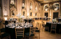 Floor Length Black linens, #Gold #Chiavari, and tall center pieces are beautiful decor upgrades for Melissa & Joe's #GoldBallroom wedding at the Hotel  Photo Credit: Reiner Photography www.HotelduPont.com/weddings