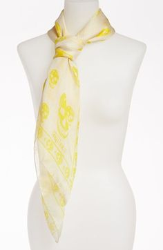 0a4d6a26b5d3 Alexander McQueen  Siamese Tiger Skull  Silk Chiffon Scarf available at   Nordstrom   My Style   Pinterest