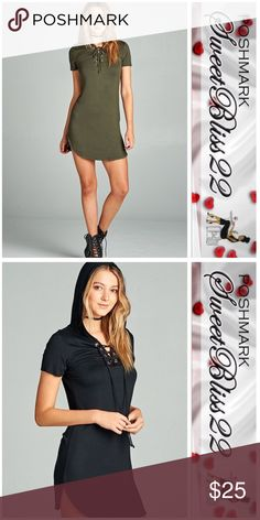 💋Olive Green Lace Up Hooded Dress💋 This dress is perfect for the summer! Fitted and oh so darn cute! Don't miss out! Dresses