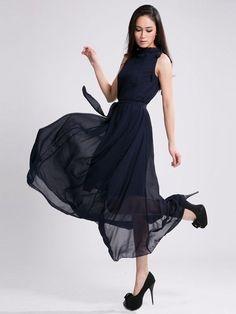 High Neck Chiffon Peplum Bohemian Dress : KissChic.com