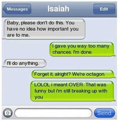 lol this is so wrong yet so funny. who breaks up in a text and 2 who says lol while breaking up with someone ha! Bad Breakup, Breakup Quotes, Break Up Texts, Lol Text, Text Fails, Funny Text Messages, Phone Messages, I Love To Laugh, Humor