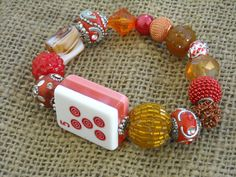 Red and Orange Mahjong Bracelet - Jesse James Beads Jewelry - Mahjong Jewelry by MahjongJewelry on Etsy