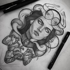 + 100 Best Easy Pencil Drawings Images : Dessin au Crayon – Art & Drawing Community : Explore & Discover the best and the most inspiring Art & Drawings ideas & trends from all around the world Tattoo Sketches, Tattoo Drawings, Body Art Tattoos, Sleeve Tattoos, Tatoos, Medusa Drawing, Medusa Art, Pencil Drawing Images, Dark Art Drawings